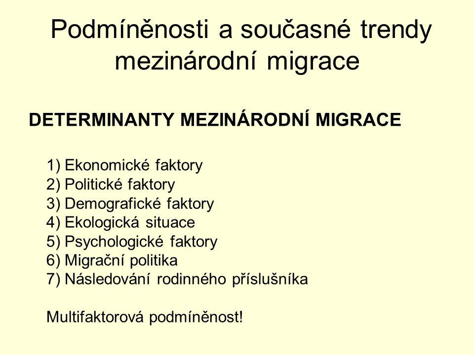 Podmíněnosti a současné trendy mezinárodní migrace 4 HLAVNÍ TYPY MIGRACE 1)Pracovní migrace (trvalá i dočasná) 2)Sjednocování rodin 3)Uprchlíci 4)Ilegální migrace