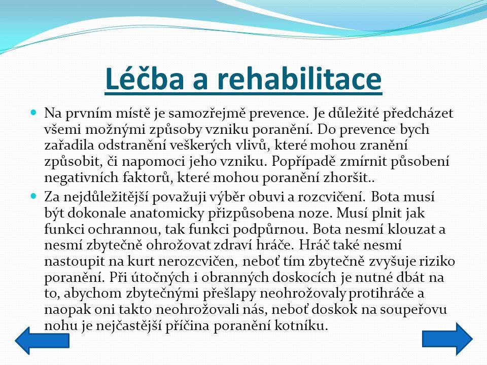 Léčba a rehabilitace Na prvním místě je samozřejmě prevence. Je důležité předcházet všemi možnými způsoby vzniku poranění. Do prevence bych zařadila o
