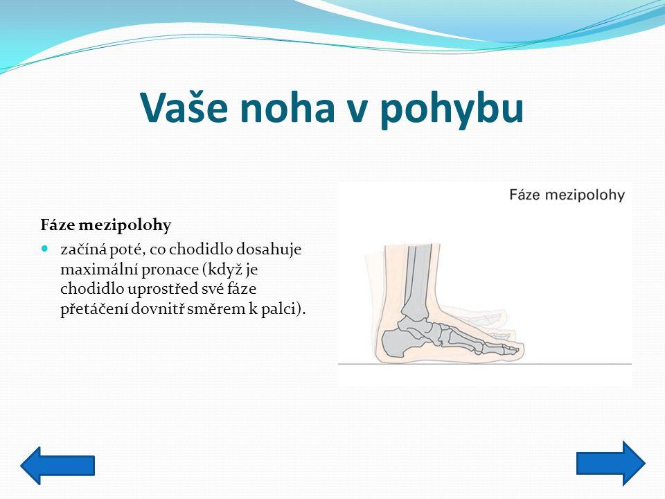 Vaše noha v pohybu Fáze mezipolohy začíná poté, co chodidlo dosahuje maximální pronace (když je chodidlo uprostřed své fáze přetáčení dovnitř směrem k