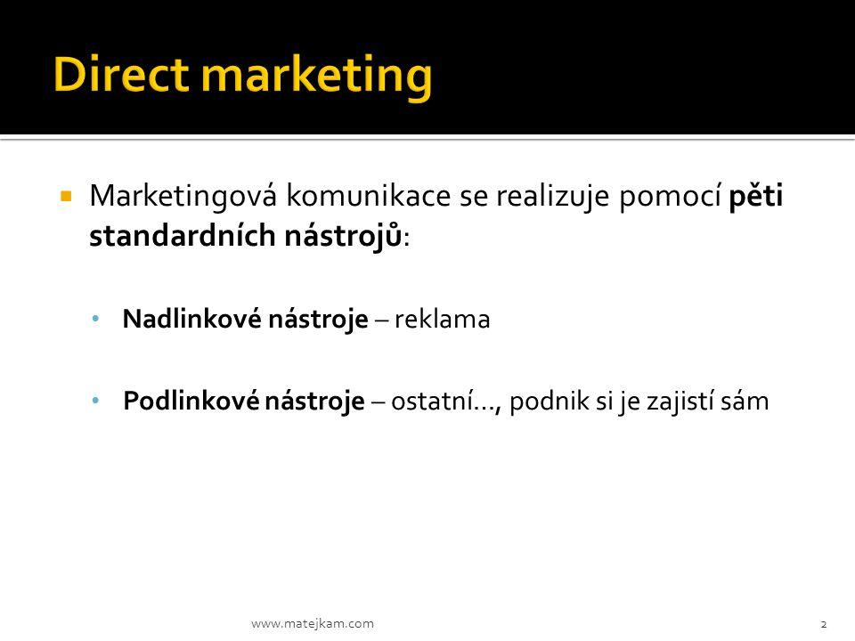  Marketingová komunikace se realizuje pomocí pěti standardních nástrojů: Nadlinkové nástroje – reklama Podlinkové nástroje – ostatní…, podnik si je z