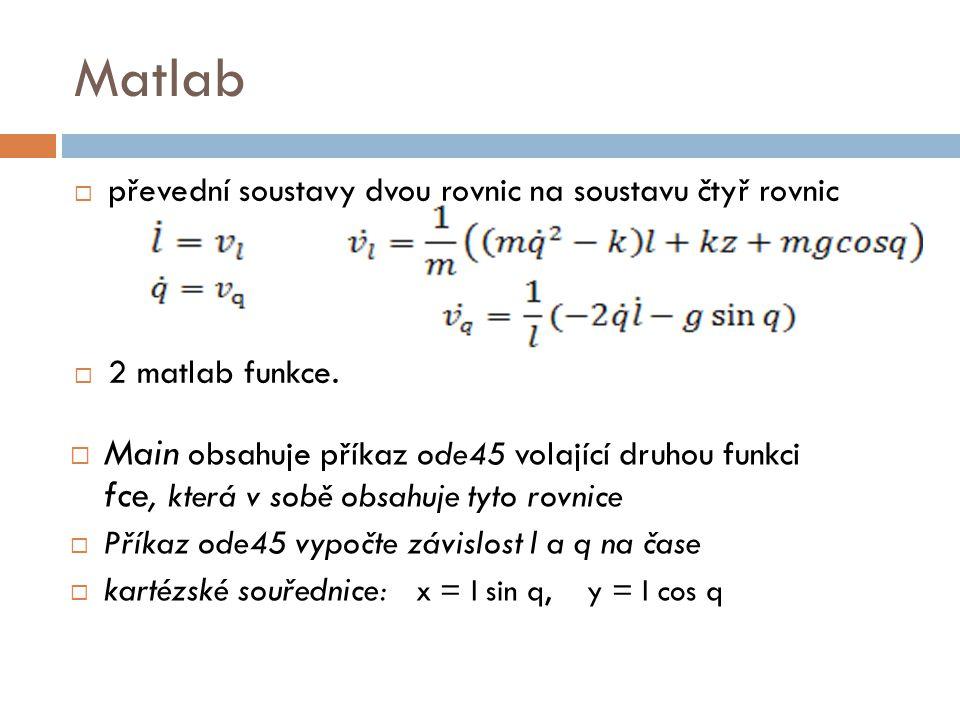 Matlab  převední soustavy dvou rovnic na soustavu čtyř rovnic  2 matlab funkce.