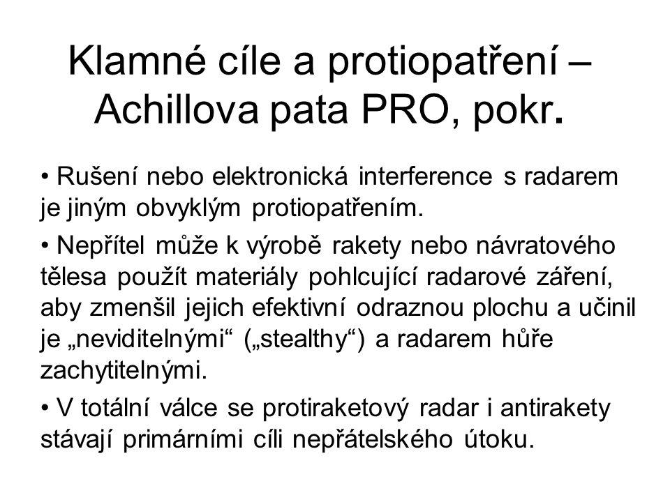 Klamné cíle a protiopatření – Achillova pata PRO, pokr. Rušení nebo elektronická interference s radarem je jiným obvyklým protiopatřením. Nepřítel můž