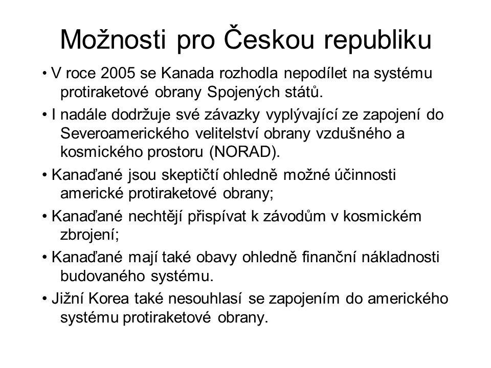 Možnosti pro Českou republiku V roce 2005 se Kanada rozhodla nepodílet na systému protiraketové obrany Spojených států. I nadále dodržuje své závazky