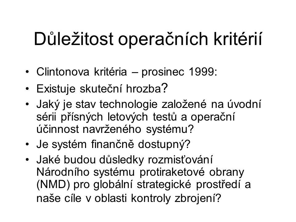 Důležitost operačních kritérií Clintonova kritéria – prosinec 1999: Existuje skuteční hrozba ? Jaký je stav technologie založené na úvodní sérii přísn