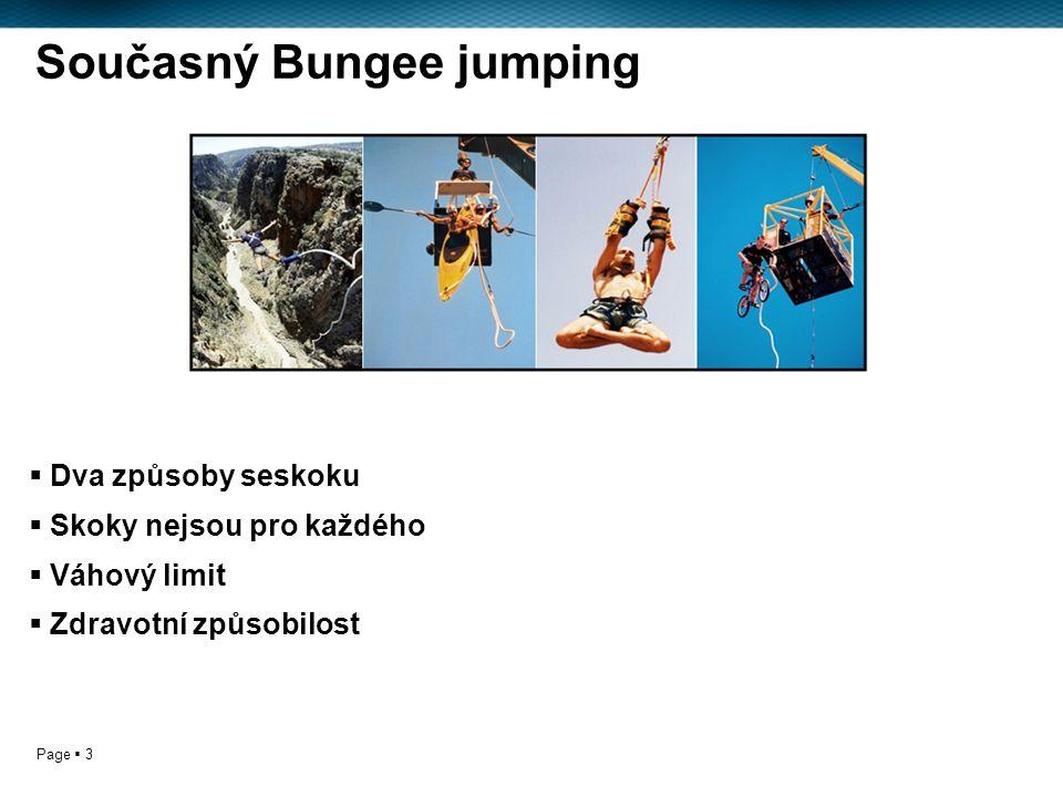 Page  3 Současný Bungee jumping  Dva způsoby seskoku  Skoky nejsou pro každého  Váhový limit  Zdravotní způsobilost