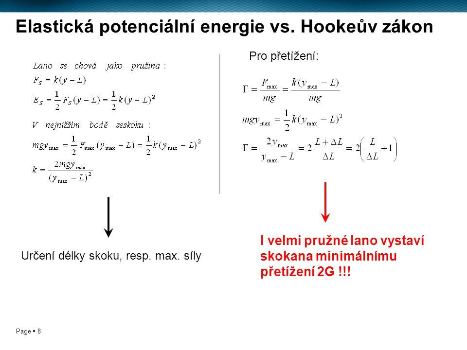 Page  8 Elastická potenciální energie vs. Hookeův zákon Určení délky skoku, resp.