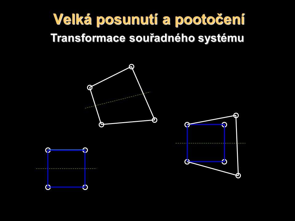 Velká posunutí a pootočení Transformace souřadného systému
