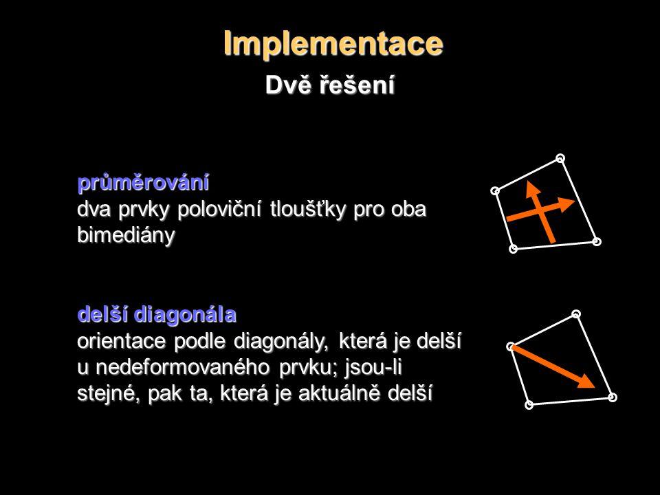Implementace Dvě řešení průměrování dva prvky poloviční tloušťky pro oba bimediány delší diagonála orientace podle diagonály, která je delší u nedeformovaného prvku; jsou-li stejné, pak ta, která je aktuálně delší
