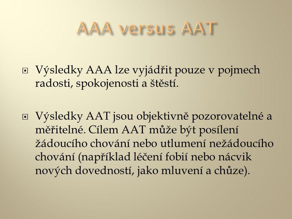  Výsledky AAA lze vyjádřit pouze v pojmech radosti, spokojenosti a štěstí.  Výsledky AAT jsou objektivně pozorovatelné a měřitelné. Cílem AAT může b