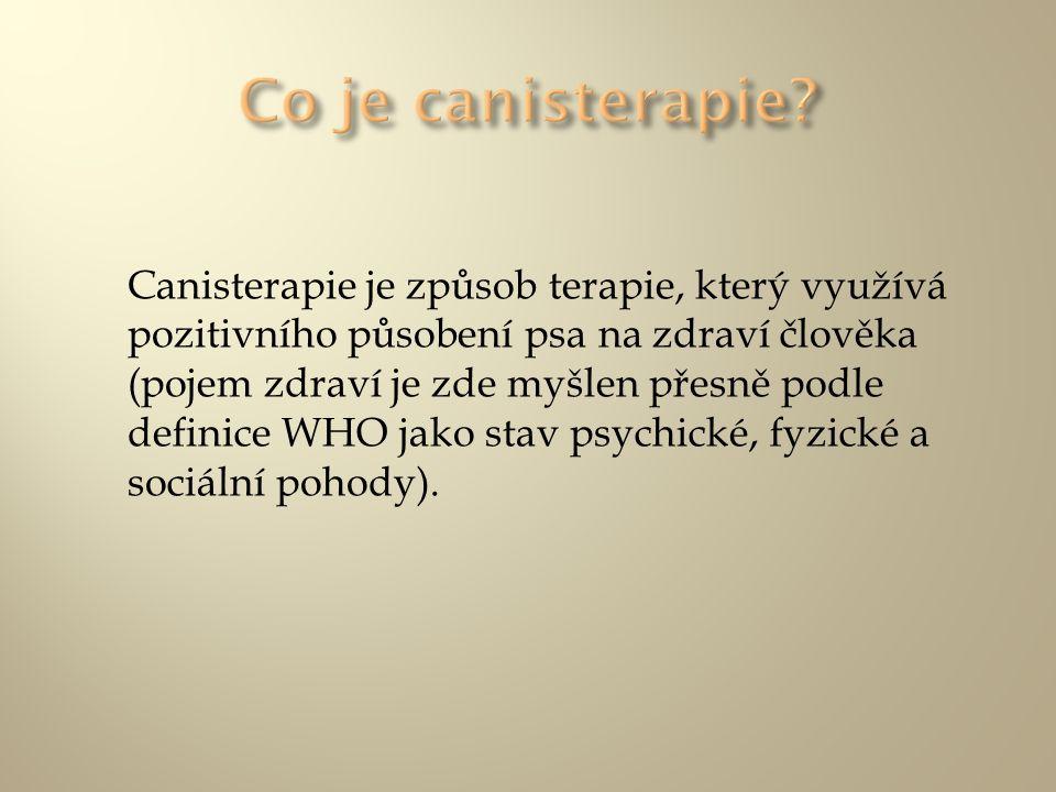 Canisterapie je způsob terapie, který využívá pozitivního působení psa na zdraví člověka (pojem zdraví je zde myšlen přesně podle definice WHO jako st