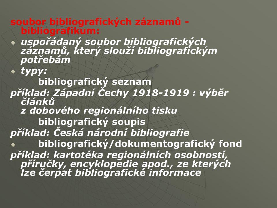 soubor bibliografických záznamů - bibliografikum:   uspořádaný soubor bibliografických záznamů, který slouží bibliografickým potřebám   typy: bibliografický seznam příklad: Západní Čechy 1918-1919 : výběr článků z dobového regionálního tisku bibliografický soupis příklad: Česká národní bibliografie   bibliografický/dokumentografický fond příklad: kartotéka regionálních osobností, příručky, encyklopedie apod., ze kterých lze čerpat bibliografické informace