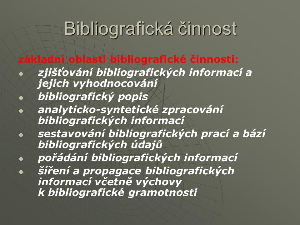 Bibliografická činnost základní oblasti bibliografické činnosti:   zjišťování bibliografických informací a jejich vyhodnocování   bibliografický popis   analyticko-syntetické zpracování bibliografických informací   sestavování bibliografických prací a bází bibliografických údajů   pořádání bibliografických informací   šíření a propagace bibliografických informací včetně výchovy k bibliografické gramotnosti