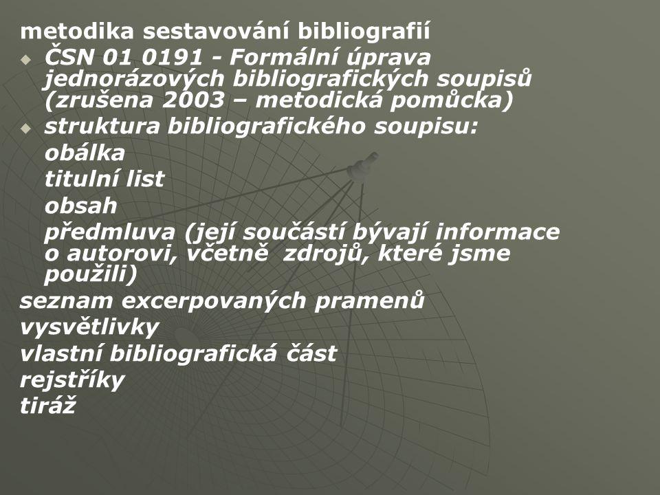 metodika sestavování bibliografií   ČSN 01 0191 - Formální úprava jednorázových bibliografických soupisů (zrušena 2003 – metodická pomůcka)   struktura bibliografického soupisu: obálka titulní list obsah předmluva (její součástí bývají informace o autorovi, včetně zdrojů, které jsme použili) seznam excerpovaných pramenů vysvětlivky vlastní bibliografická část rejstříky tiráž