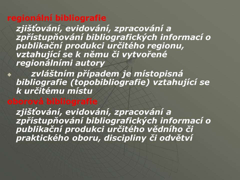 regionální bibliografie zjišťování, evidování, zpracování a zpřístupňování bibliografických informací o publikační produkci určitého regionu, vztahující se k němu či vytvořené regionálními autory   zvláštním případem je místopisná bibliografie (topobibliografie) vztahující se k určitému místu oborová bibliografie zjišťování, evidování, zpracování a zpřístupňování bibliografických informací o publikační produkci určitého vědního či praktického oboru, discipliny či odvětví