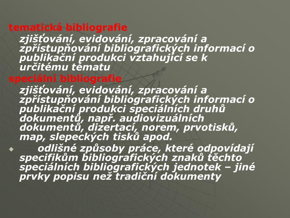 tematická bibliografie zjišťování, evidování, zpracování a zpřístupňování bibliografických informací o publikační produkci vztahující se k určitému tématu speciální bibliografie zjišťování, evidování, zpracování a zpřístupňování bibliografických informací o publikační produkci speciálních druhů dokumentů, např.