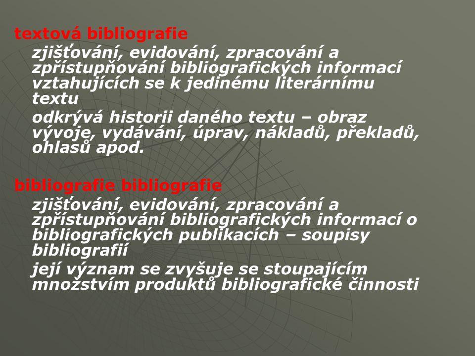 textová bibliografie zjišťování, evidování, zpracování a zpřístupňování bibliografických informací vztahujících se k jedinému literárnímu textu odkrývá historii daného textu – obraz vývoje, vydávání, úprav, nákladů, překladů, ohlasů apod.