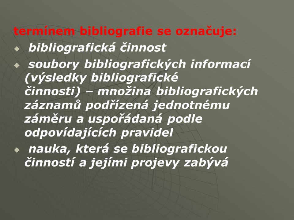 termínem bibliografie se označuje:   bibliografická činnost   soubory bibliografických informací (výsledky bibliografické činnosti) – množina bibliografických záznamů podřízená jednotnému záměru a uspořádaná podle odpovídajících pravidel   nauka, která se bibliografickou činností a jejími projevy zabývá