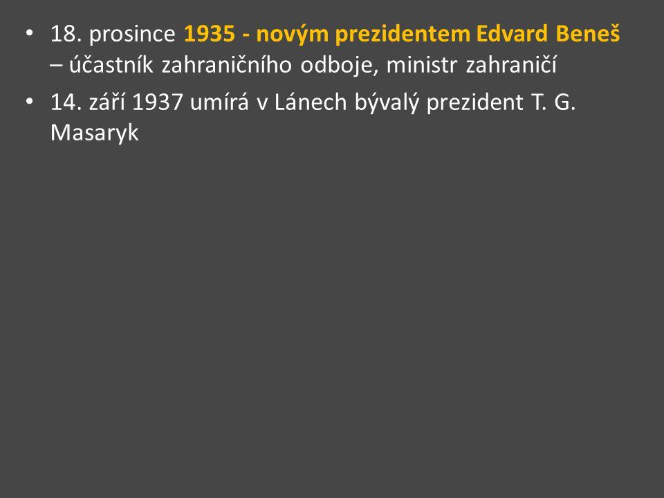 18. prosince 1935 - novým prezidentem Edvard Beneš – účastník zahraničního odboje, ministr zahraničí 14. září 1937 umírá v Lánech bývalý prezident T.