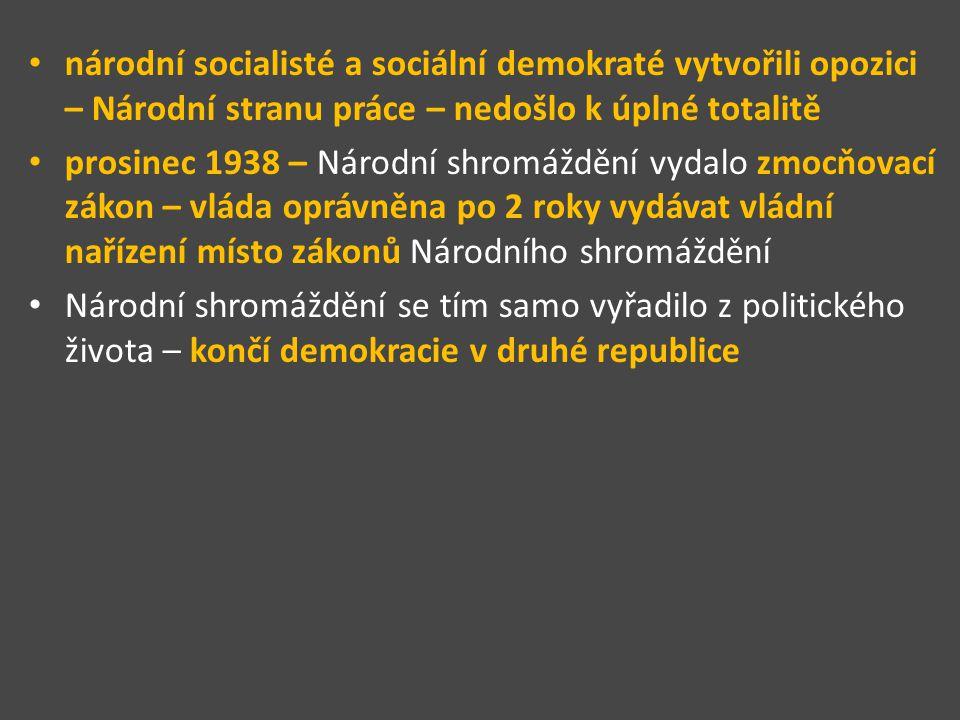 národní socialisté a sociální demokraté vytvořili opozici – Národní stranu práce – nedošlo k úplné totalitě prosinec 1938 – Národní shromáždění vydalo