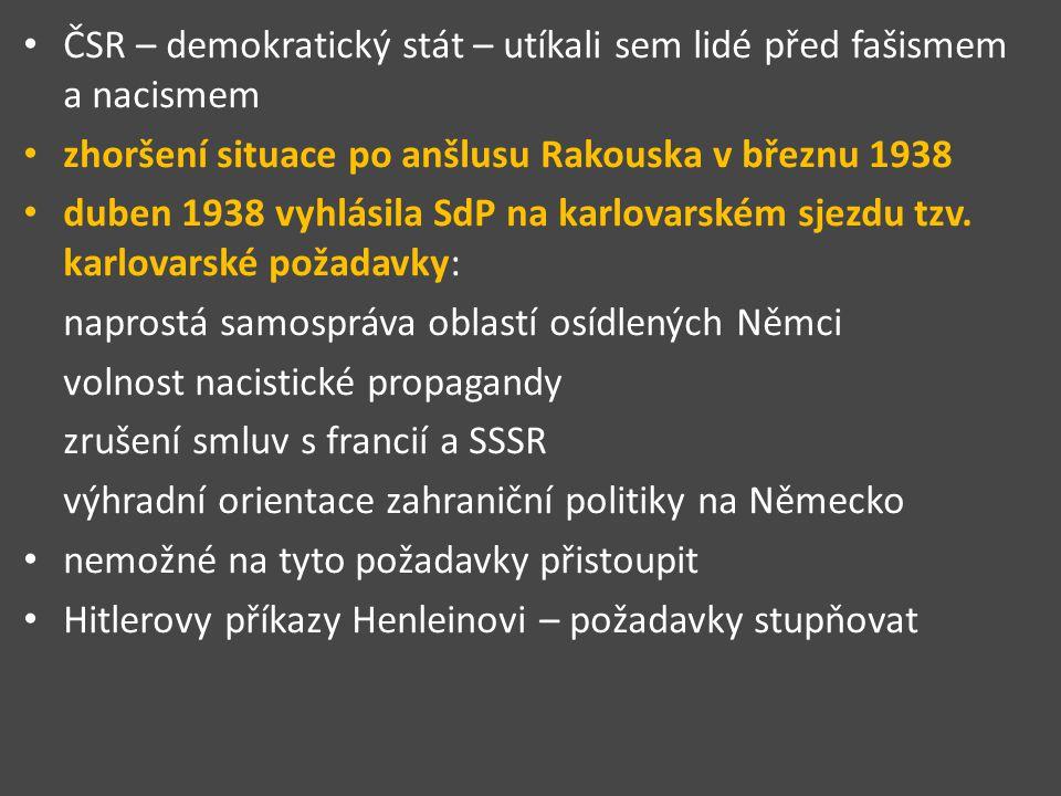 ČSR – demokratický stát – utíkali sem lidé před fašismem a nacismem zhoršení situace po anšlusu Rakouska v březnu 1938 duben 1938 vyhlásila SdP na karlovarském sjezdu tzv.