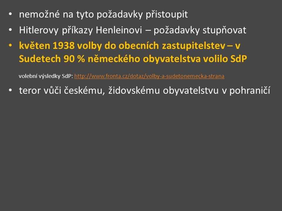 nemožné na tyto požadavky přistoupit Hitlerovy příkazy Henleinovi – požadavky stupňovat květen 1938 volby do obecních zastupitelstev – v Sudetech 90 % německého obyvatelstva volilo SdP volební výsledky SdP: http://www.fronta.cz/dotaz/volby-a-sudetonemecka-stranahttp://www.fronta.cz/dotaz/volby-a-sudetonemecka-strana teror vůči českému, židovskému obyvatelstvu v pohraničí