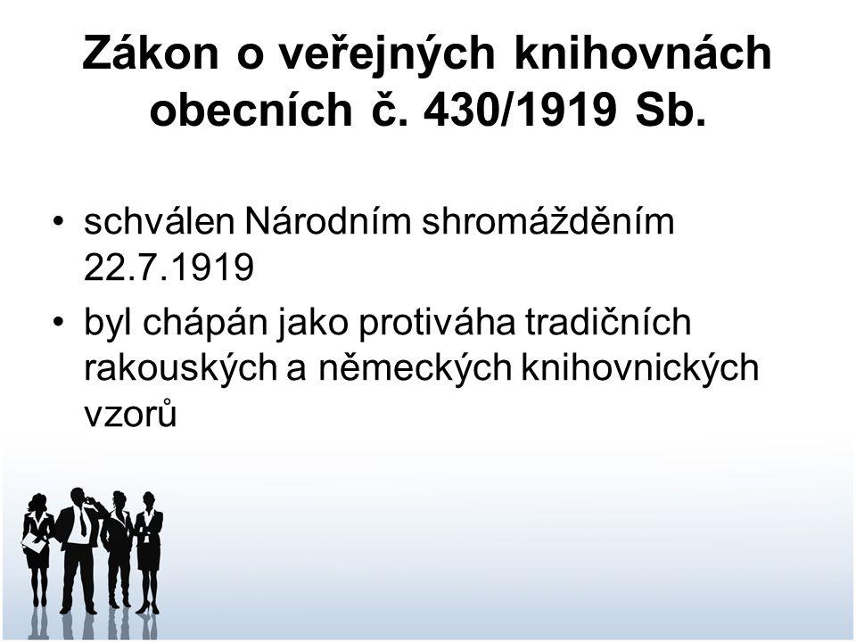 Zákon o veřejných knihovnách obecních č.430/1919 Sb.