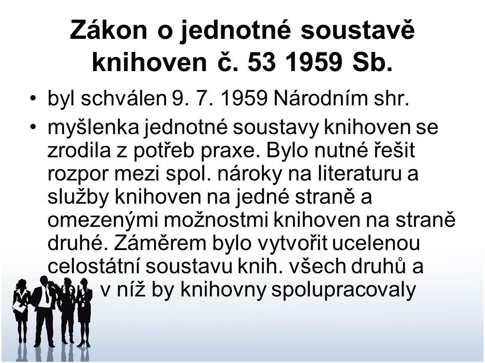 Zákon o jednotné soustavě knihoven č.53 1959 Sb. byl schválen 9.
