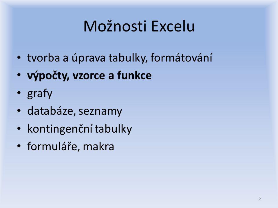 Možnosti Excelu tvorba a úprava tabulky, formátování výpočty, vzorce a funkce grafy databáze, seznamy kontingenční tabulky formuláře, makra 2