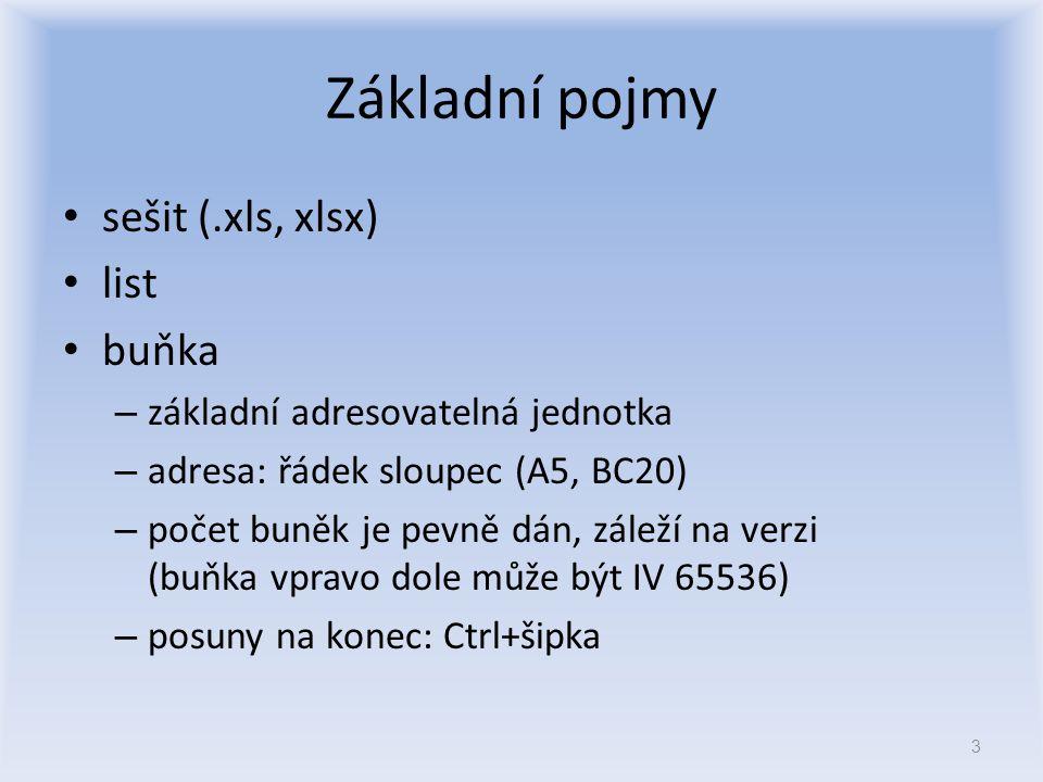 Základní pojmy sešit (.xls, xlsx) list buňka – základní adresovatelná jednotka – adresa: řádek sloupec (A5, BC20) – počet buněk je pevně dán, záleží n