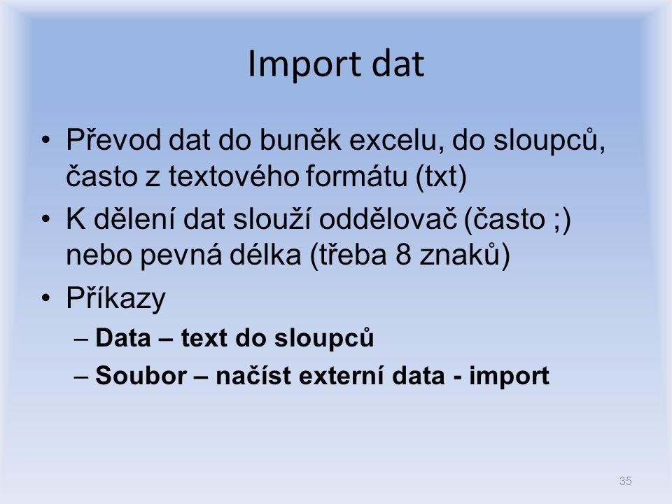 Import dat Převod dat do buněk excelu, do sloupců, často z textového formátu (txt) K dělení dat slouží oddělovač (často ;) nebo pevná délka (třeba 8 z