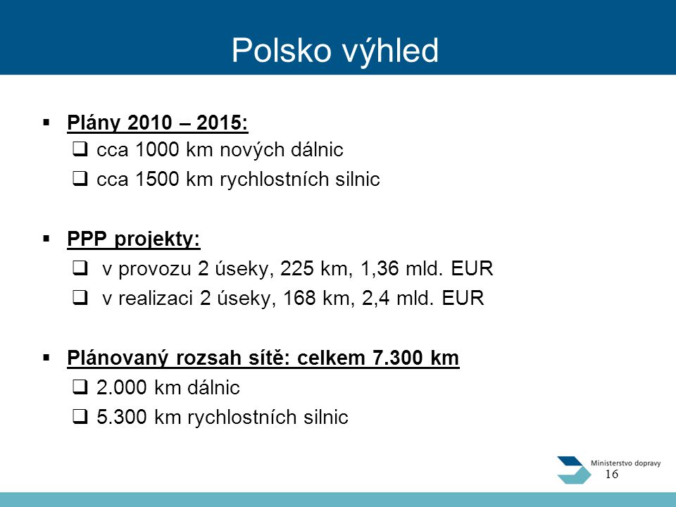Polsko výhled  Plány 2010 – 2015:  cca 1000 km nových dálnic  cca 1500 km rychlostních silnic  PPP projekty:  v provozu 2 úseky, 225 km, 1,36 mld.