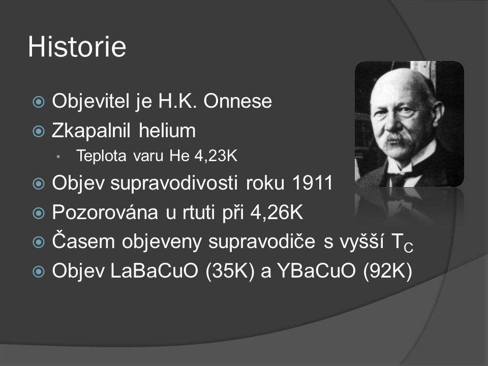 Historie  Objevitel je H.K. Onnese  Zkapalnil helium Teplota varu He 4,23K  Objev supravodivosti roku 1911  Pozorována u rtuti při 4,26K  Časem o