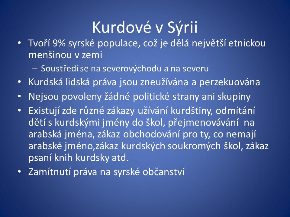 Kurdové v Sýrii Tvoří 9% syrské populace, což je dělá největší etnickou menšinou v zemi – Soustředí se na severovýchodu a na severu Kurdská lidská prá