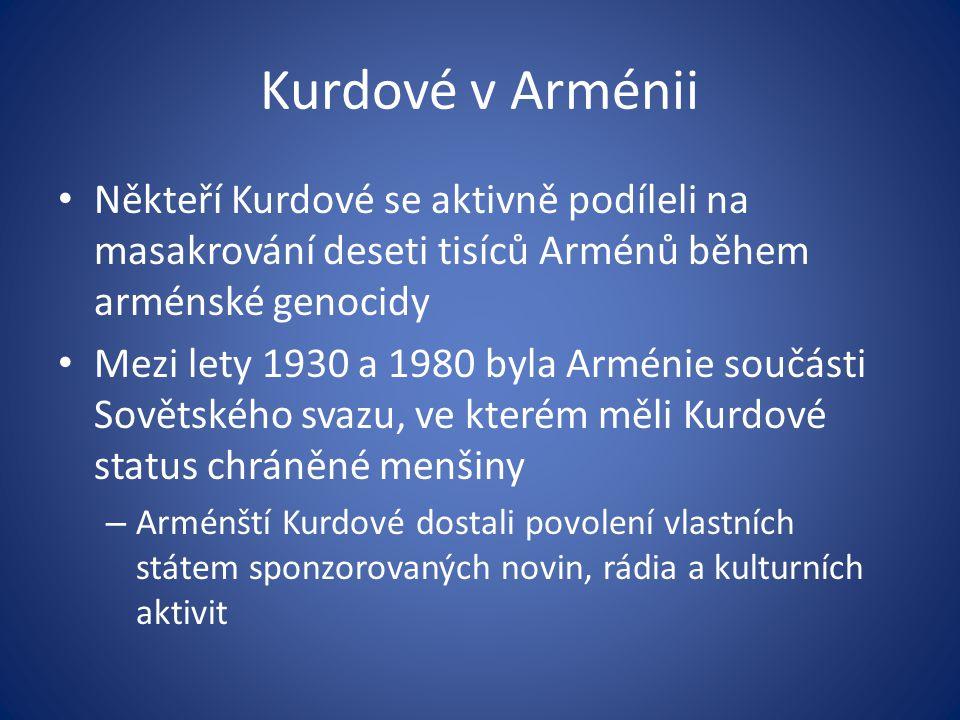 Kurdové v Arménii Někteří Kurdové se aktivně podíleli na masakrování deseti tisíců Arménů během arménské genocidy Mezi lety 1930 a 1980 byla Arménie s