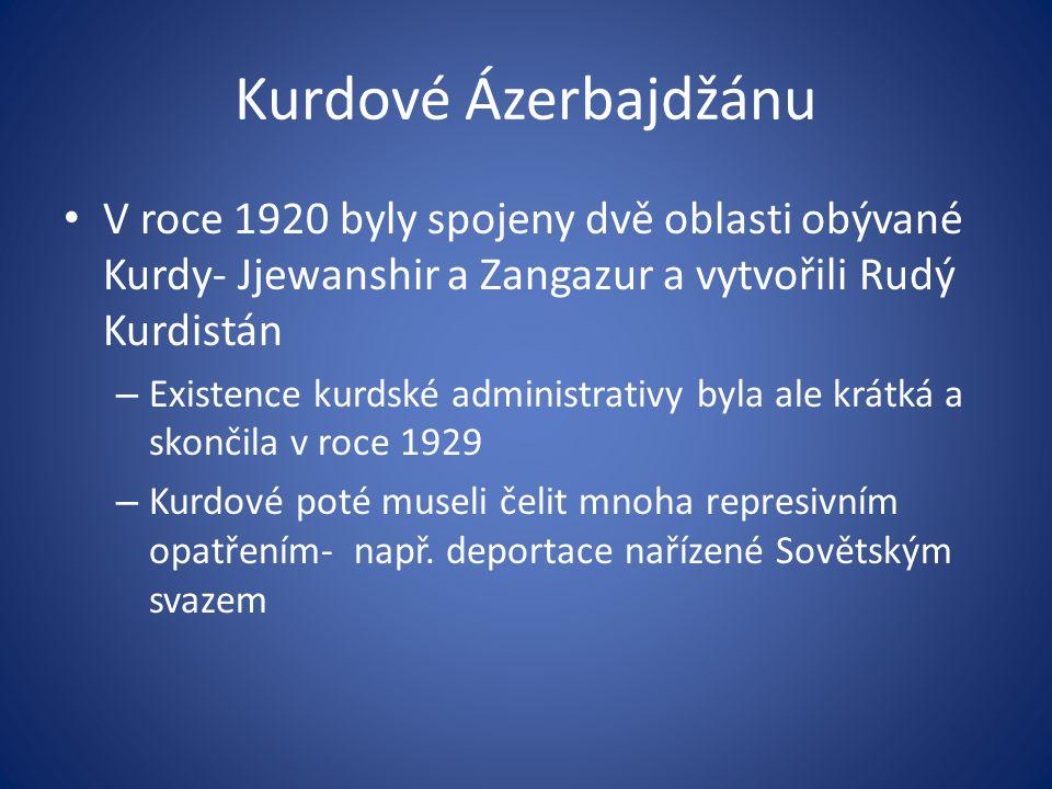 Kurdové Ázerbajdžánu V roce 1920 byly spojeny dvě oblasti obývané Kurdy- Jjewanshir a Zangazur a vytvořili Rudý Kurdistán – Existence kurdské administ