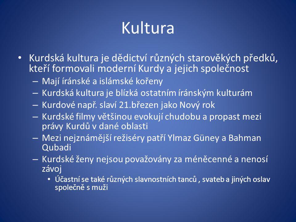 Kultura Kurdská kultura je dědictví různých starověkých předků, kteří formovali moderní Kurdy a jejich společnost – Mají íránské a islámské kořeny – K