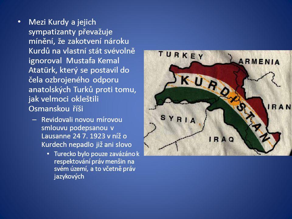 Mezi Kurdy a jejich sympatizanty převažuje mínění, že zakotvení nároku Kurdů na vlastní stát svévolně ignoroval Mustafa Kemal Atatürk, který se postav