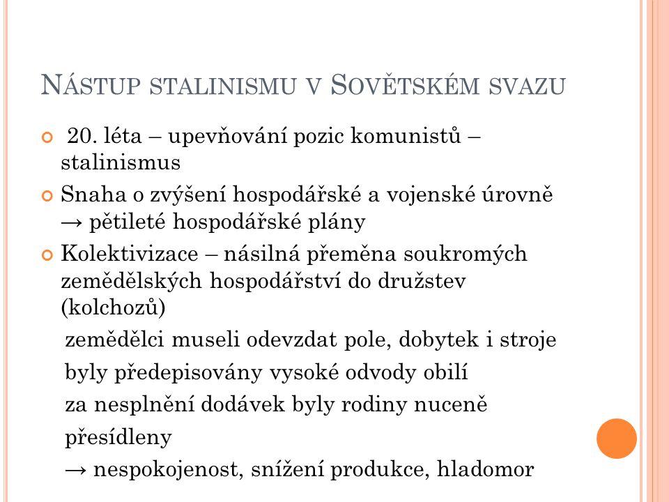 N ÁSTUP STALINISMU V S OVĚTSKÉM SVAZU 20. léta – upevňování pozic komunistů – stalinismus Snaha o zvýšení hospodářské a vojenské úrovně → pětileté hos