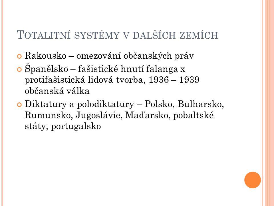 T OTALITNÍ SYSTÉMY V DALŠÍCH ZEMÍCH Rakousko – omezování občanských práv Španělsko – fašistické hnutí falanga x protifašistická lidová tvorba, 1936 –