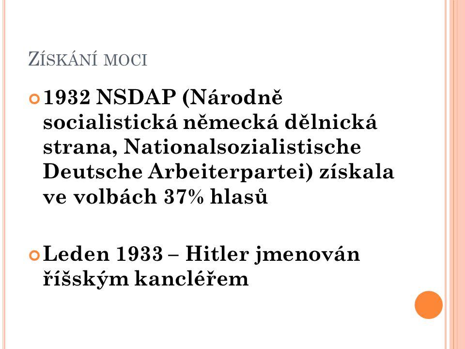 Z ÍSKÁNÍ MOCI 1932 NSDAP (Národně socialistická německá dělnická strana, Nationalsozialistische Deutsche Arbeiterpartei) získala ve volbách 37% hlasů