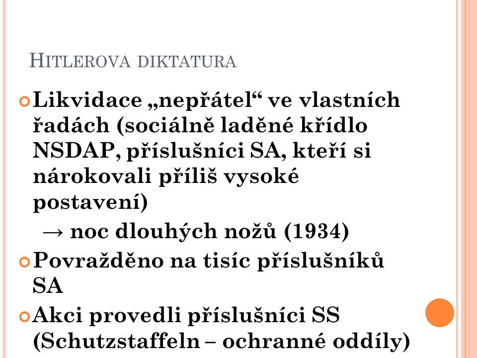 """H ITLEROVA DIKTATURA Likvidace """"nepřátel"""" ve vlastních řadách (sociálně laděné křídlo NSDAP, příslušníci SA, kteří si nárokovali příliš vysoké postave"""