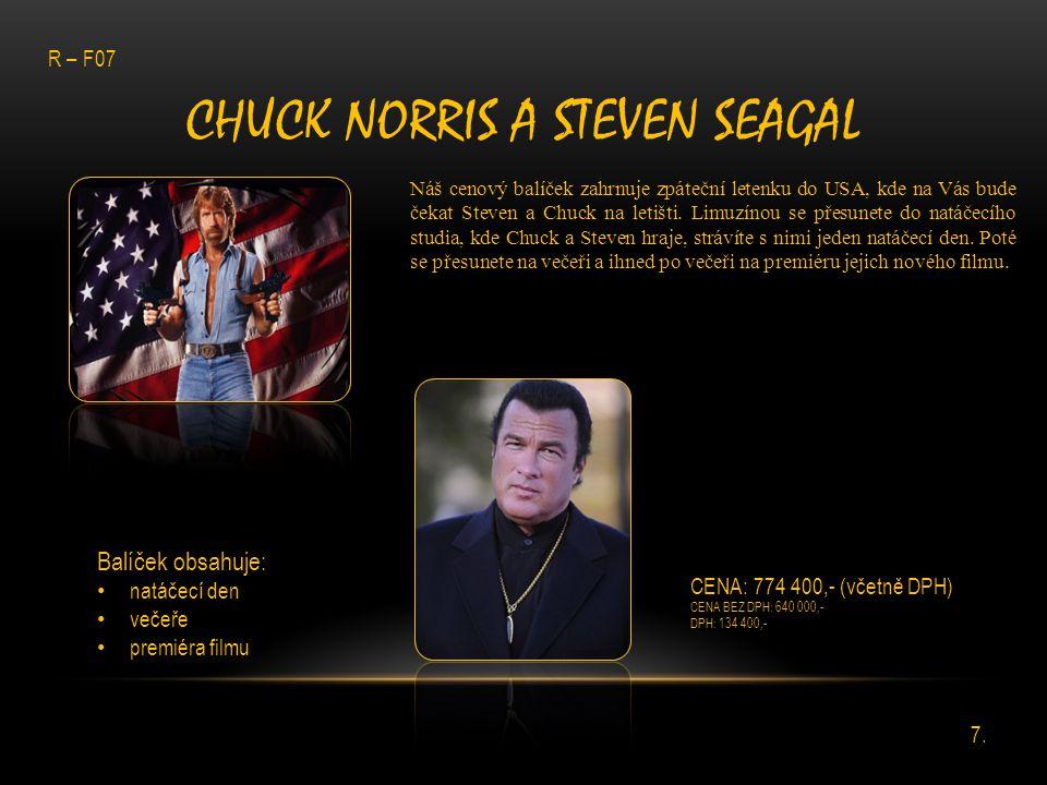 CHUCK NORRIS A STEVEN SEAGAL Náš cenový balíček zahrnuje zpáteční letenku do USA, kde na Vás bude čekat Steven a Chuck na letišti. Limuzínou se přesun