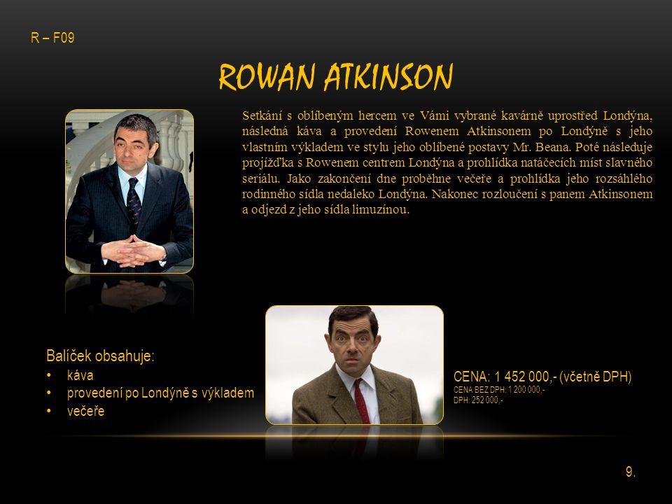 ROWAN ATKINSON Setkání s oblíbeným hercem ve Vámi vybrané kavárně uprostřed Londýna, následná káva a provedení Rowenem Atkinsonem po Londýně s jeho vl