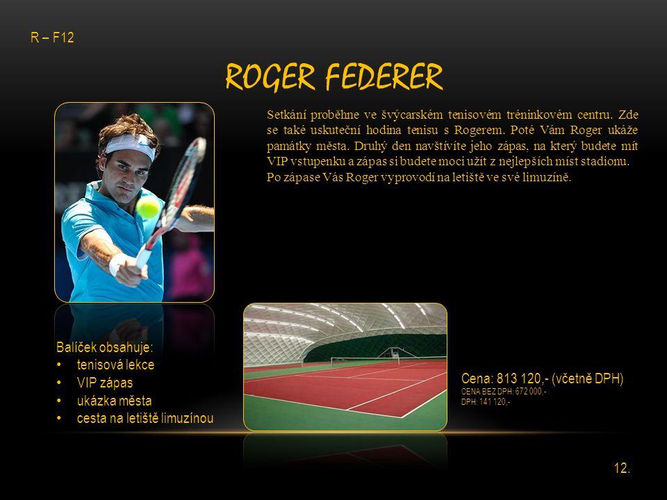 ROGER FEDERER Setkání proběhne ve švýcarském tenisovém tréninkovém centru. Zde se také uskuteční hodina tenisu s Rogerem. Poté Vám Roger ukáže památky