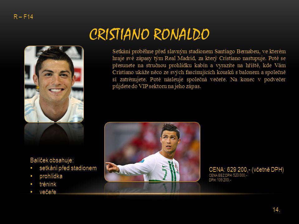 CRISTIANO RONALDO Setkání proběhne před slavným stadionem Santiago Bernabeu, ve kterém hraje své zápasy tým Real Madrid, za který Cristiano nastupuje.