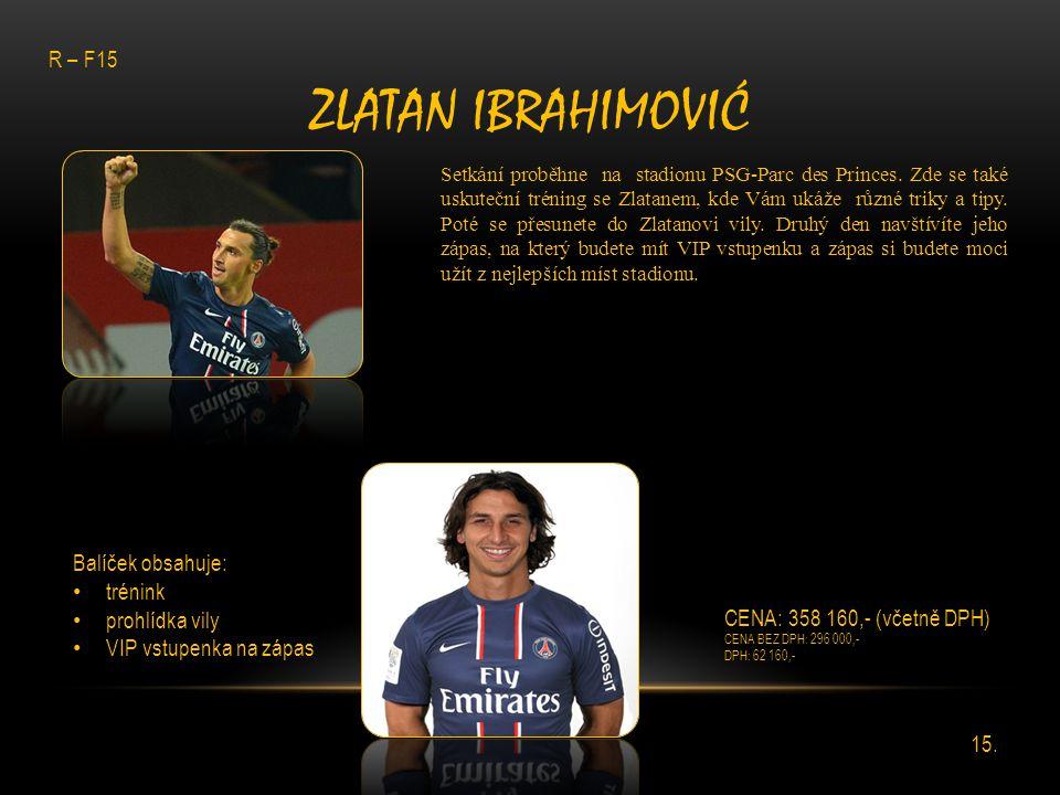 ZLATAN IBRAHIMOVIĆ Setkání proběhne na stadionu PSG-Parc des Princes. Zde se také uskuteční tréning se Zlatanem, kde Vám ukáže různé triky a tipy. Pot