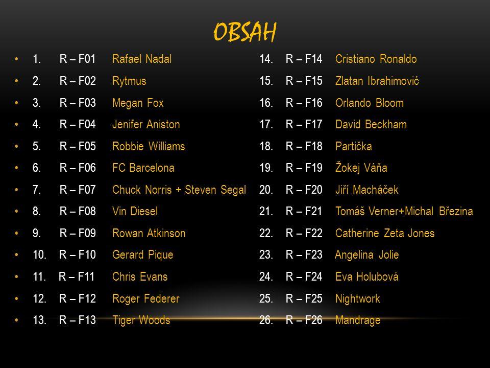 1. R – F01Rafael Nadal14. R – F14 Cristiano Ronaldo 2. R – F02Rytmus15. R – F15 Zlatan Ibrahimović 3. R – F03Megan Fox16. R – F16 Orlando Bloom 4. R –