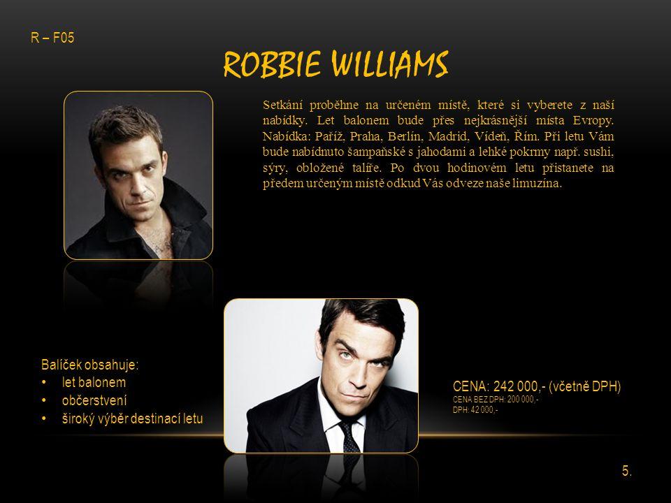 ROBBIE WILLIAMS Setkání proběhne na určeném místě, které si vyberete z naší nabídky. Let balonem bude přes nejkrásnější místa Evropy. Nabídka: Paříž,