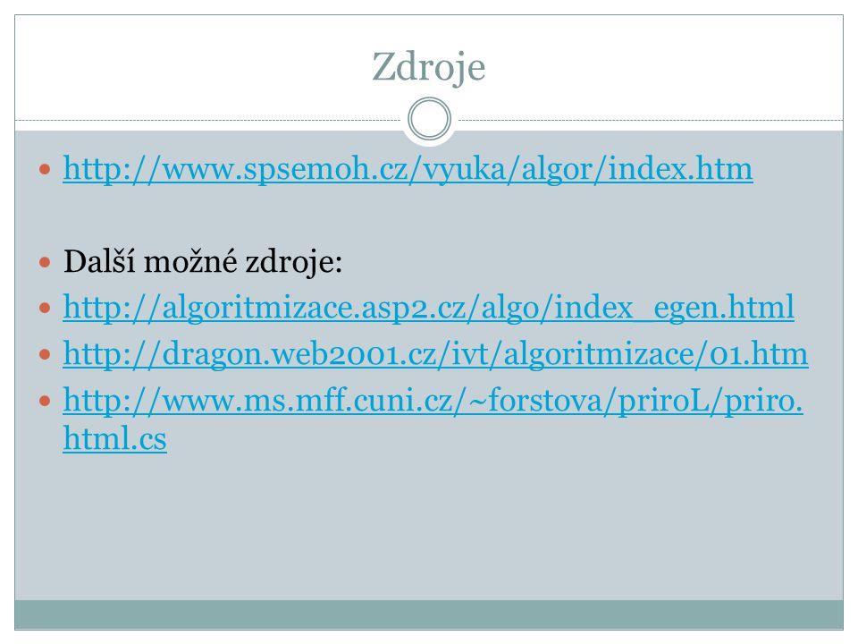 Zdroje http://www.spsemoh.cz/vyuka/algor/index.htm Další možné zdroje: http://algoritmizace.asp2.cz/algo/index_egen.html http://dragon.web2001.cz/ivt/
