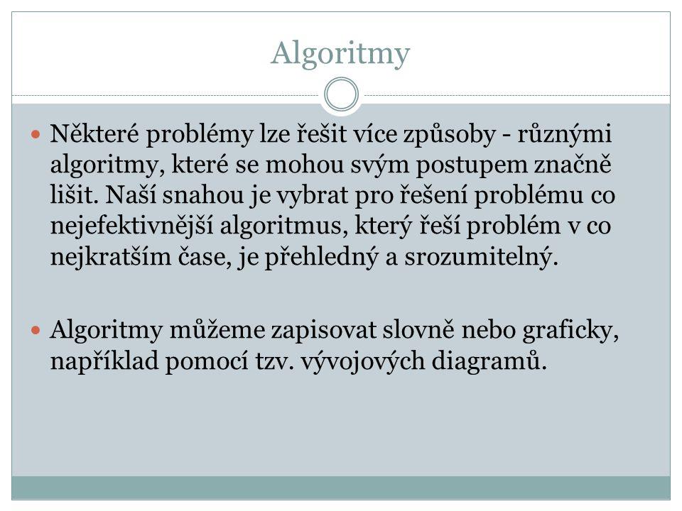 Algoritmy Některé problémy lze řešit více způsoby - různými algoritmy, které se mohou svým postupem značně lišit. Naší snahou je vybrat pro řešení pro